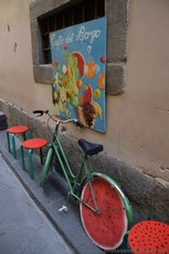 Caffe del Borgo in Florence with Watermelon Bicycle on Borgo dei Greci.jpg