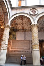 Frescoes and Intricate Gold and White Columns inside the First Courtyard of Palazzo Vecchio.jpg