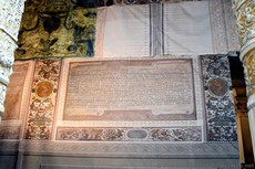 Scroll with Writing on wall of Palazzo Vecchio First Courtyard.jpg