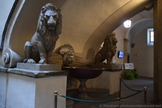 Twin Lion Sculptures Flank a Fountain of Palazzo Vecchio Second Courtyard.jpg